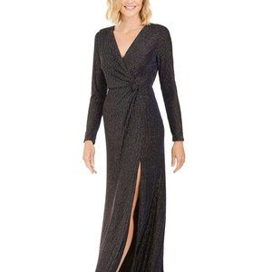 Nightway Knot-Waist Gown Navy/Gold Size 12